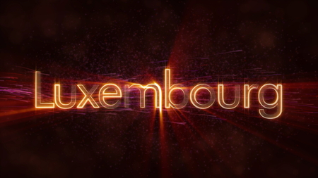 Luxembourg - Shiny rays on edge of country name text over a background with swirling and flowing stars