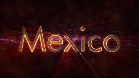 Mexico - Shiny rays on edge of country name text over a background with swirling and flowing stars Фото со стока