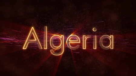 Algeria - Shiny rays on edge of country name text over a background with swirling and flowing stars Фото со стока