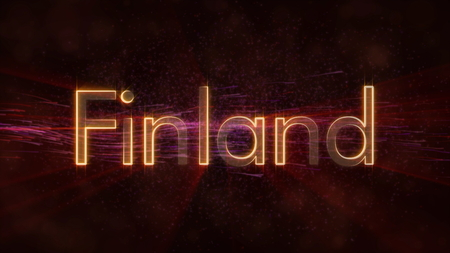 Finland - Shiny rays on edge of country name text over a background with swirling and flowing stars Фото со стока
