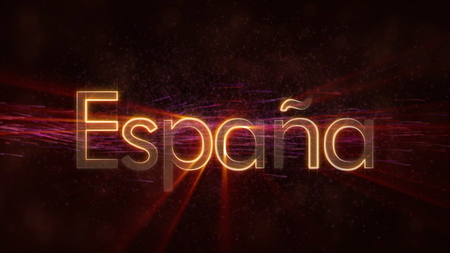 Spain in local language Espana - Shiny rays on edge of country name text over a background with swirling and flowing stars