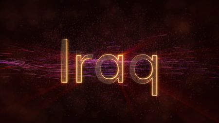 Iraq - Shiny rays on edge of country name text over a background with swirling and flowing stars