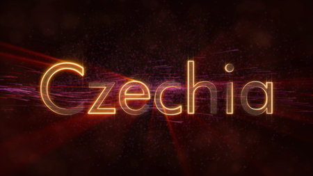 Czechia - Shiny rays on edge of country name text over a background with swirling and flowing stars