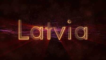 Latvia - Shiny rays on edge of country name text over a background with swirling and flowing stars