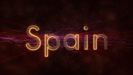 Spain - Shiny rays on edge of country name text over a background with swirling and flowing stars