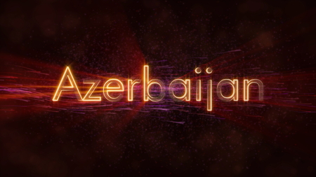 Azerbaijan - Shiny rays on edge of country name text over a background with swirling and flowing stars