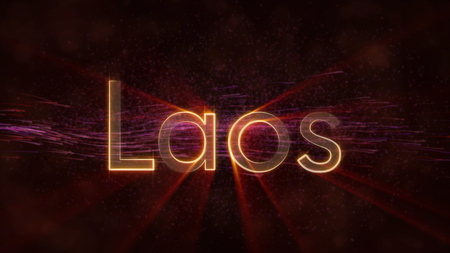 Laos - Shiny rays on edge of country name text over a background with swirling and flowing stars Фото со стока