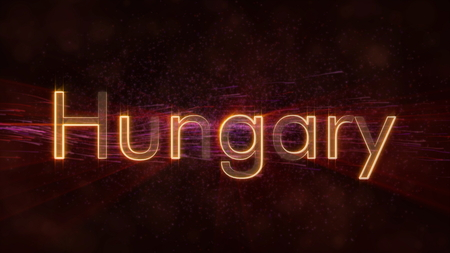 Hungary - Shiny rays on edge of country name text over a background with swirling and flowing stars