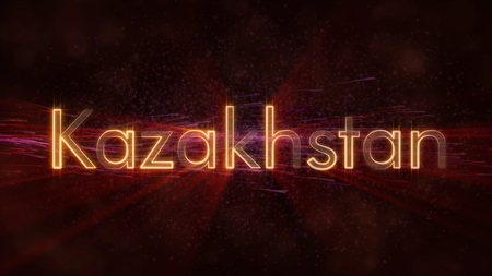 Kazakhstan - Shiny rays on edge of country name text over a background with swirling and flowing stars