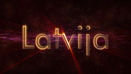 Latvia in local language Latvija - Shiny rays on edge of country name text over a background with swirling and flowing stars