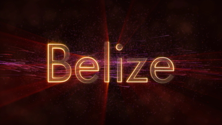 Belize - Shiny rays on edge of country name text over a background with swirling and flowing stars