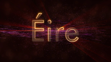 Ireland in local language Eire - Shiny rays on edge of country name text over a background with swirling and flowing stars