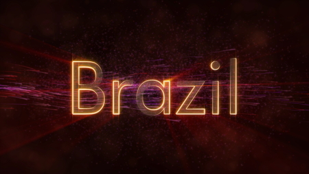 Brazil - Shiny rays on edge of country name text over a background with swirling and flowing stars Фото со стока