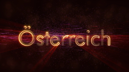 Austria in local language Osterreich - Shiny rays on edge of country name text over a background with swirling and flowing stars Фото со стока