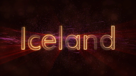Iceland - Shiny rays on edge of country name text over a background with swirling and flowing stars Фото со стока