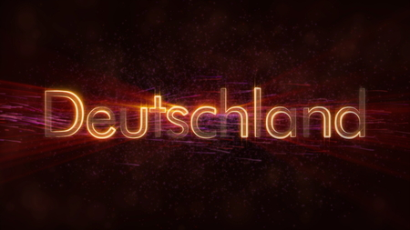 Germany in local language Deutschland - Shiny rays on edge of country name text over a background with swirling and flowing stars