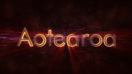 New Zealand in local language Aotearoa - Shiny rays on edge of country name text over a background with swirling and flowing stars