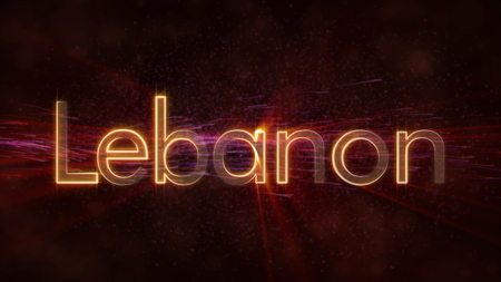 Lebanon - Shiny rays on edge of country name text over a background with swirling and flowing stars Фото со стока