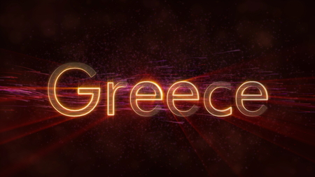 Greece - Shiny rays on edge of country name text over a background with swirling and flowing stars