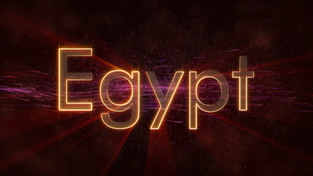 Egypt - Shiny rays on edge of country name text over a background with swirling and flowing stars Фото со стока