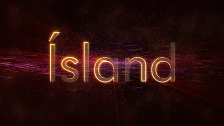 Iceland in local language Island - Shiny rays on edge of country name text over a background with swirling and flowing stars