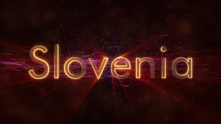 Slovenia - Shiny rays on edge of country name text over a background with swirling and flowing stars