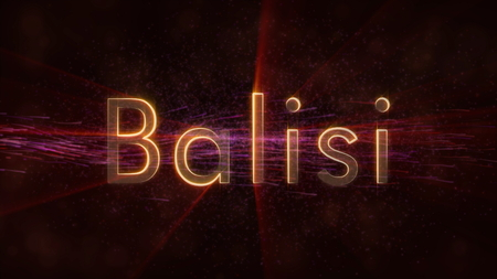 Belize in local language Balisi - Shiny rays on edge of country name text over a background with swirling and flowing stars
