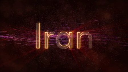 Iran - Shiny rays on edge of country name text over a background with swirling and flowing stars