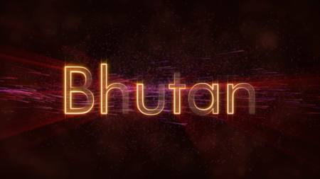 Bhutan - Shiny rays on edge of country name text over a background with swirling and flowing stars