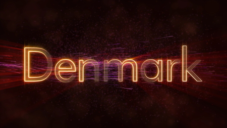 Denmark - Shiny rays on edge of country name text over a background with swirling and flowing stars Фото со стока