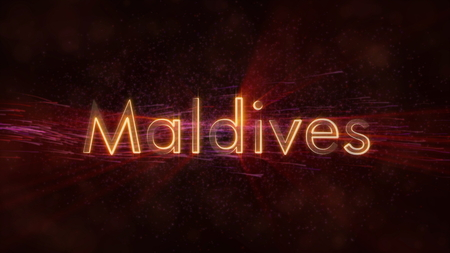 Maldives - Shiny rays on edge of country name text over a background with swirling and flowing stars Фото со стока
