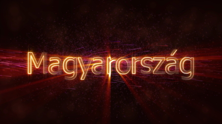 Hungary in local language Magyarorszag - Shiny rays on edge of country name text over a background with swirling and flowing stars Фото со стока