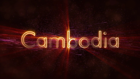 Cambodia - Shiny rays on edge of country name text over a background with swirling and flowing stars Фото со стока
