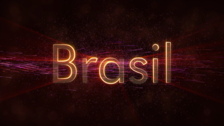 Brazil in local language Brasil - Shiny rays on edge of country name text over a background with swirling and flowing stars Фото со стока
