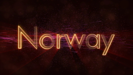 Norway - Shiny rays on edge of country name text over a background with swirling and flowing stars Фото со стока