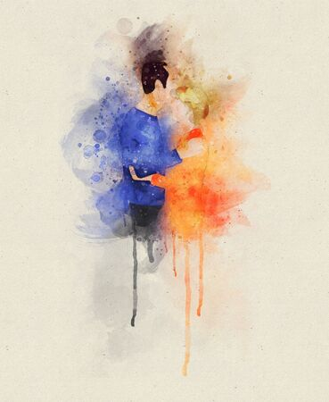 Runny and Splashed Watercolor Illustration of a man kissing his partner from her forehead