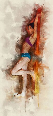Runny and Splashed Watercolor Illustration of a young leaning Sexy woman