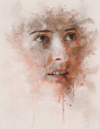 Runny and Splashed Watercolor Illustration of a young and pretty woman portrait without makeup Stok Fotoğraf