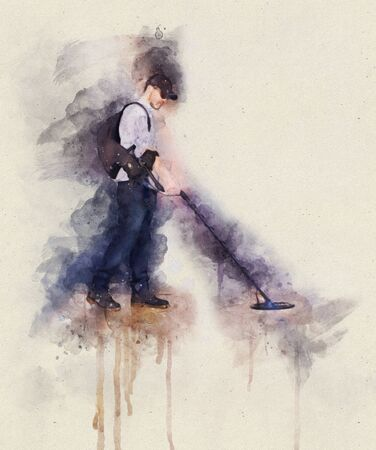 Runny and Splashed Watercolor Illustration of a Man using metal detector with backpack Stok Fotoğraf