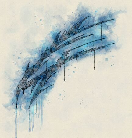 Runny and Splashy Watercolor Abstract Tribal Dragon Head, T-shirt Graphics