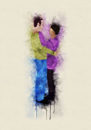 Runny and Splashed Watercolor Illustration of a hugging couple