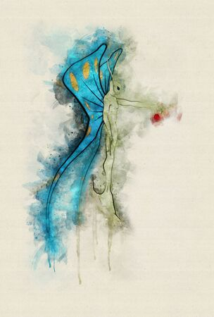 Runny and Splashed Watercolor Illustration of a fairy offering an apple, T-shirt Graphics