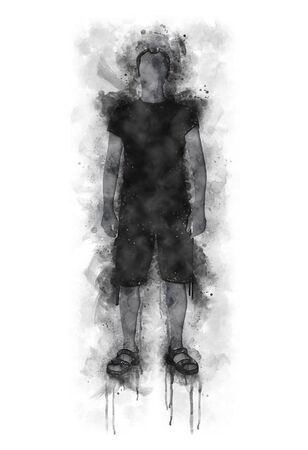 Runny and Splashed Watercolor Illustration of a Man  silhouette with shorts and t-shirts