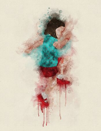 Runny and Splashed Watercolor illustration of a playing child with red shoes a light background