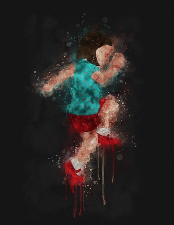 Runny and Splashed Watercolor illustration of a playing child with red shoes a dark background