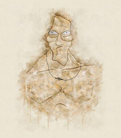 Angry Bodybuilder, T-shirt Graphics Stok Fotoğraf