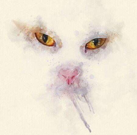 Close up watercolor portrait illustration of a calico cat.