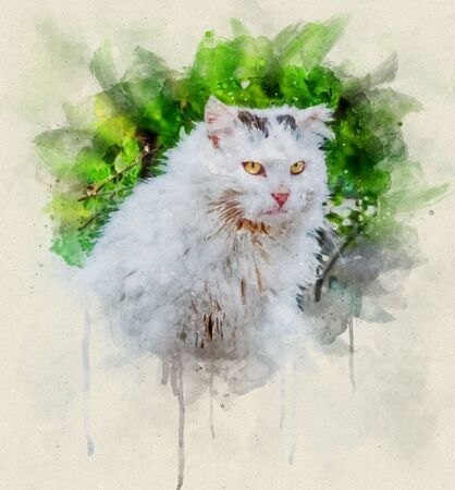 Watercolor illustration, Portrait of a dirty white colored stray cat with yellow eyes.