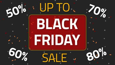 Black Friday Sale animation with up to 50,60,70 and 80 percent, over dark background Stok Fotoğraf