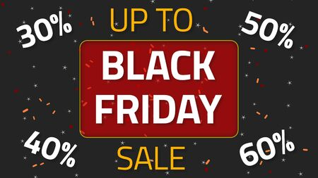 Black Friday Sale animation with up to 30,40,50 and 60 percent, over dark background Stok Fotoğraf